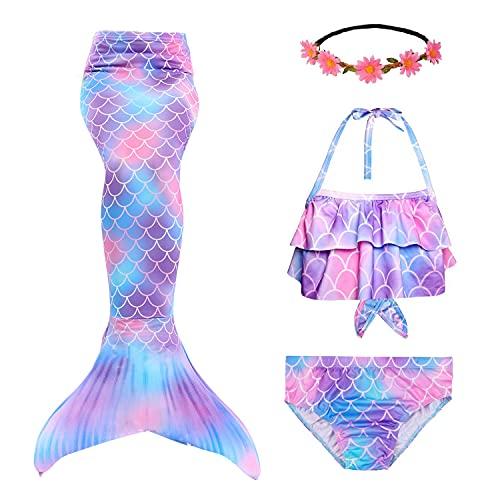RIKILIO 4 Stück Mädchen Meerjungfrauenschwanz zum Schwimmen 120cm Meerjungfrau Badeanzug mit blumenkranz haare, Cosplay Kostüm für Kinder Meerjungfrauenflosse Mädchen Bademode ohne Monoflosse