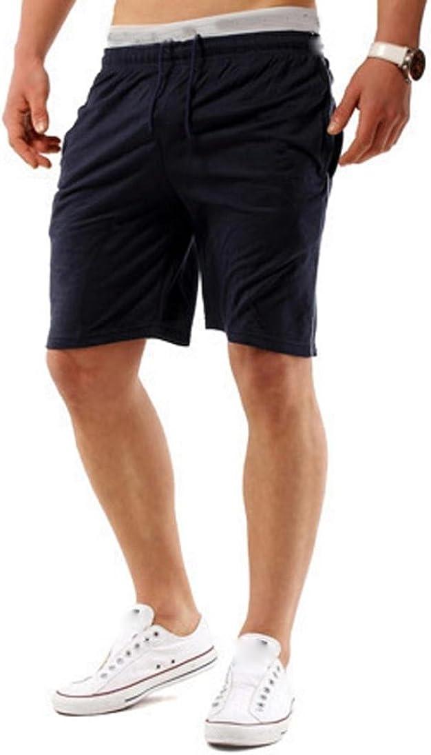 RAISINGTOP Men Sports Sweatpants Shorts Fitness Jogging Running Elastic Waist Casual Athletic Pants Above Knee Lounge