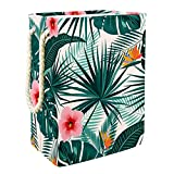 Vockgeng Palma de Hojas Florales Tropicales Organización del hogar Gran Bolsa de Almacenamiento de Juguetes Impermeable Plegable para Ropa con Asas de Transporte 49x30x40.5 cm