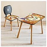 Kindertisch mit Stuhl Kindersitzgruppe Kinder Tisch Stuhl Set Holz für Kleinkinder Motiv Back to School für Jungs und Mädchen
