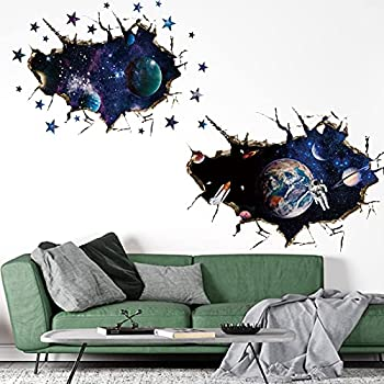 2Pcs Universe Wall Stickers 3D Cosmic Planet DSVENROLY Astronaut Planet Wall Decals Galaxy Outer Space Star Wall Murals Removable Wallpaper for Kids Children Nursery Bedroom Living Room  Universe