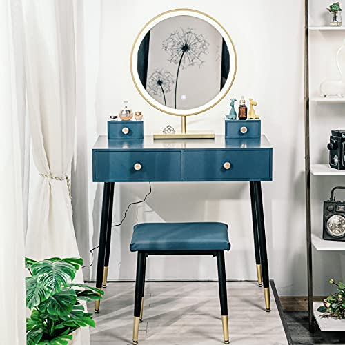 YOURLITE Makeup Vanity Table Set 3 LED Touch Screen Lighted Brightness Adjustable Mirror with 4 Drawer PU Cushion Stool Modern Blue Dressing Table Easy Assembly