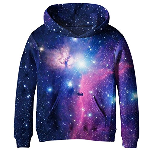 SAYM Big Girls Galaxy Fleece Pockets Sweatshirts Jacket Pullover Hoodies NO8 M