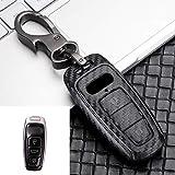 ABS Carbon Fiber Car Key Case Cover Shell For Audi A6 A7 A8 Q8 E-Tron C8 D5 A8L A6L 2018 2019 Car Stying Accessories Black