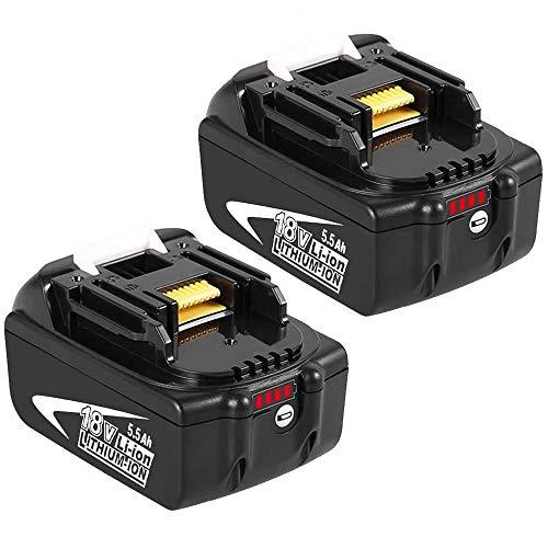 2 Stück BL1860B 18V 5.5Ah Lithium Ersatz für Makita Akku BL1850B BL1860B BL1860 BL1850 BL1840B BL1840 BL1830B BL1830 BL1835 LXT400 194204-5 Werkzeugakkus mit LED-Anzeigen