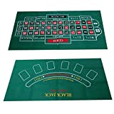 QIRU Waterproof Table Mat Blackjack Roulette Tablecloth for Table Games,Blackjack and Craps Table Felt Layout,Double-Sided Pattern Felt Game 60X120cm