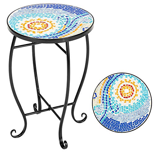 LIBYPNV Outdoor Garden Table, Blue Hawaiian Inlaid Color Glass Outdoor Mosaic Side Table,Round Terrace Bistro Table for Garden, Yard or Lawn