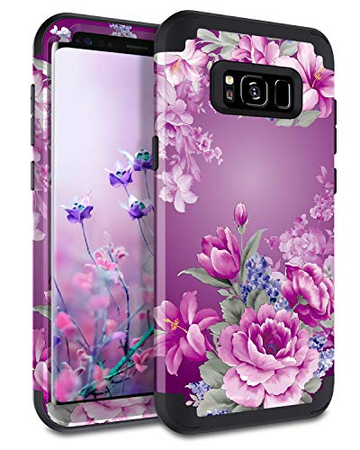 LONTECT Compatible Galaxy S8 Case Floral 3 in 1 Heavy Duty Hybrid Sturdy Armor High Impact Shockproof Protective Cover Case for Samsung Galaxy S8, Black/Purple Flower