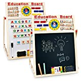 Pacago 6 In 1 Educational Learning Toy Activity Drawing Board Kids Art Easel Wooden Blackboard Whiteboard Double Sided with Chalks and Eraser, Magnetic Numbers