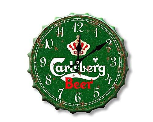 Carlsberg - Orologio con tappo a bottiglia per bevande Happy Hour Birra più grande vintage retrò uomo Mancave capanno garage officina pub bar regalo