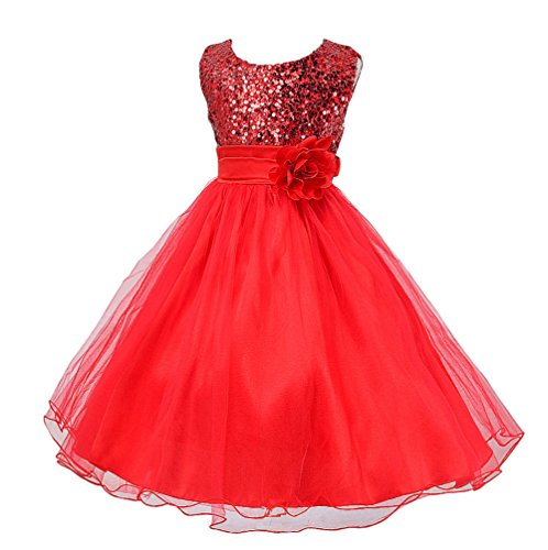 Wocau Little Girls' Sequin Mesh Tull Dress Sleeveless Flower Party Ball Gown (110(3-4 Years), Red)
