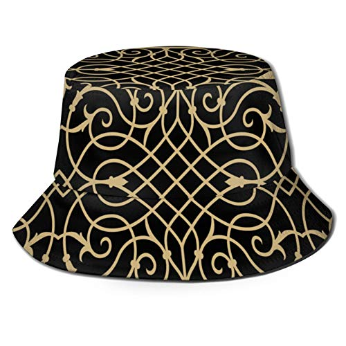 PUIO Sombrero de Pesca,Cenefa de Hierro Medieval Forjado Ocre,Senderismo para Hombres y Mujeres al Aire Libre Sombrero de Cubo Sombrero para el Sol