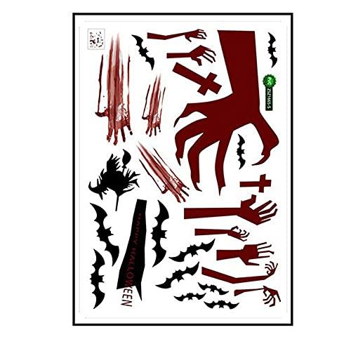 Kongqiabona-UK Zsz1665 Nuevo Halloween murciélago Sangre Huella de la Mano Etiqueta de la Pared Pegatinas de Pared Creativas decoración de Halloween Etiqueta de la Pared Etiqueta de la Pared