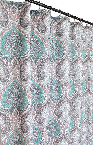C.H.D Home Decorative Fabric Shower Curtain: Aqua Grey Coral Damask Design with Hooks (Fallriver)