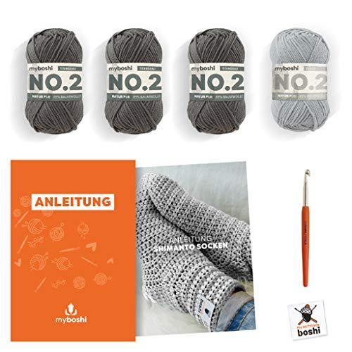 myboshi Häkel-Set Shimanto | aus No.2 | Anleitung + Wolle | mit passender Häkelnadel | Häkelsocken | Silber Titangrau