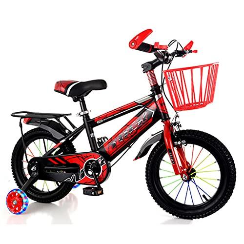 LFFME Bicicleta para Niños para Niños Y Niñas, De 12 A 18 Pulgadas con Diseño De Freno Doble Y Canasta para Automóvil, Bicicleta De Entrenamiento,A,16