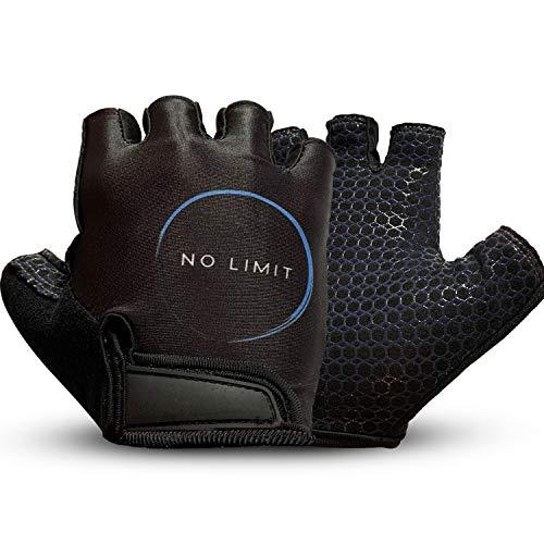 NoLimit®️ Fitness Handschuhe Trainingshandschuhe Sporthandschuhe Crossfit Handschuhe für Damen und Herren (Schwarz/Rosa) Handflächen-Schutz und Silikon-Grip für Dein Workout