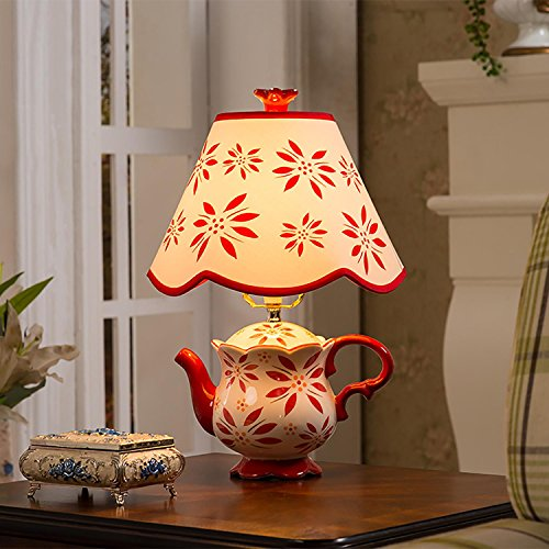 TUNBG Creative keramische tafellamp theepot vorm met stof schaduw voor slaapkamer woonkamer decoratie