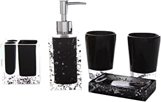 LUANT Resin Soap Dish, Soap Dispenser, Toothbrush Holder & Tumbler Bathroom Accessory 5 Piece Set (Black)
