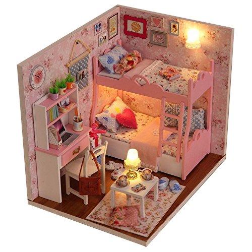 Itian Decoración en miniatura modelo , DIY casa con luces y