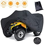 LotFancy All Weather Waterproof ATV Cover, Heavy Duty Black Quad Protects 4 Wheelers Outdoor Protection from Wind UV Sun Snow Rain (L 86x47x39 inches)