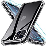 Grebuy Coque Compatible avec iPhone 13 Mini avec 2 Protecteur D'écran en Verre Trempé, Housse de Protection Antichoc Compatible avec iPhone 13 Mini 5.4 Pouces- Transparente
