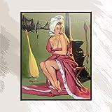 YWOHP Belle Femme Star du cinéma américain sans Cadre Peinture à l'huile sans Cadre Conception de Toile écharpe colorée aérographe-40x50 cm