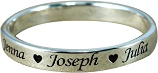 Ouslier 925 Sterling Silver Personalized Ring with Family Name Custom Made with 3 Names