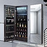 Armario para joyas con espejo, organizador de joyas, espejo, armario para joyas, armario colgante, espejo de pared de longitud completa, 6 luces LED (color marrón)