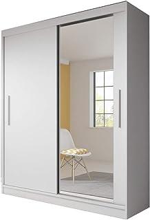 MEUBLO Armoire, Penderie avec 2 Portes coulissantes (L x H x P): 183x218x61 TESS (Blanc)