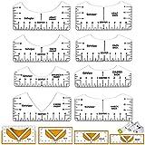 Yoliatar Ropa Moda Regla, Guía de Reglas de Camisetas, Herramientas de Alineación de Camisetas para Costura y Diseño de Patrón de Costura, Regla de Corte Multiusos con 1 Cinta Métrica (PVC, 12 Piezas)