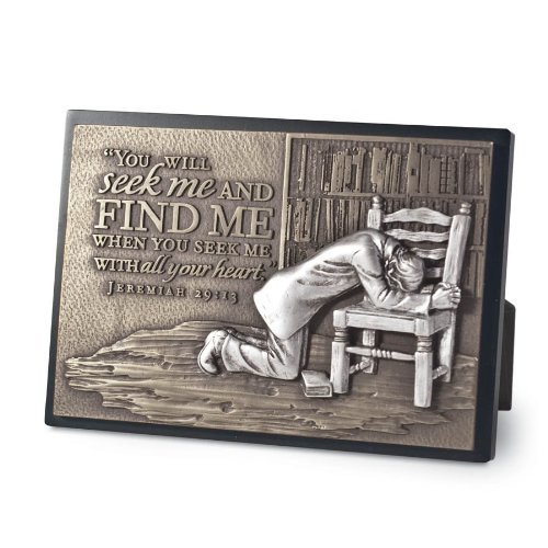 """Lighthouse Christian Products Moments of Faith Praying Man Rectangle Sculpture Plaque, 4 1/2 x 6 1/2"""""""
