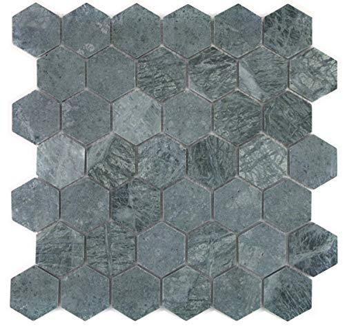 Mozaïek tegel marmer natuursteen Hexagon marmer groen MOS44-0210