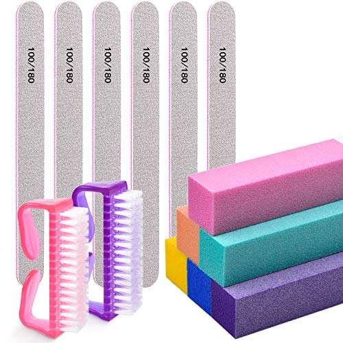 Nail Files and Buffers,Morgles Professional Manicure Tools Buffers Block Tools 100/180 Grit Nail Scrubbing Brush 14pcs