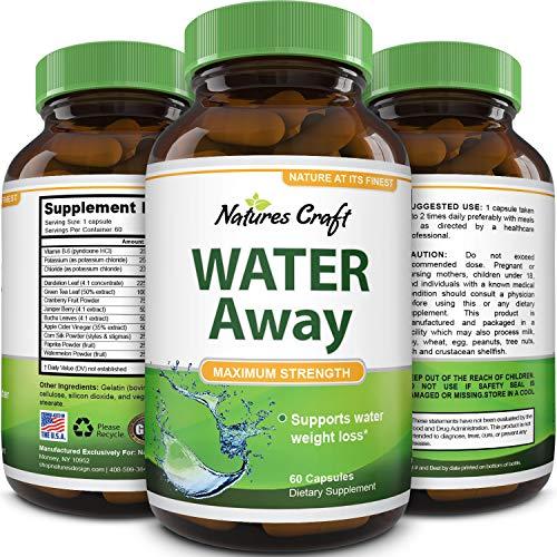 Natural Water Pills - Reduce Excess Water - Weight Loss Appetite Suppressant Benefits - Vitamin B6 Pyridoxine Hydrochloride - Dandelion Root + Pure Green Tea Diuretic for Women & Men
