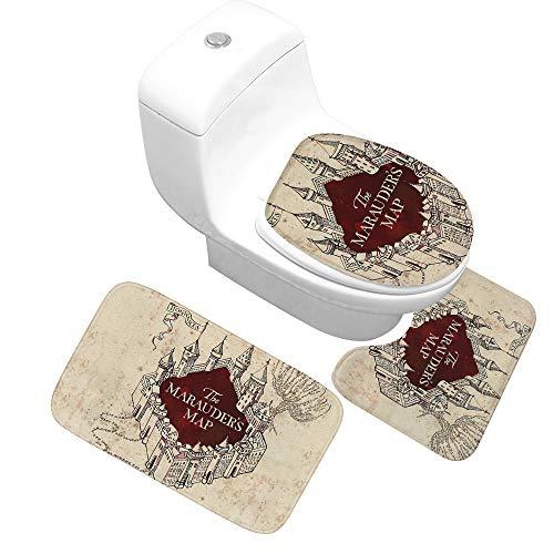 YIYA Creative persoonlijkheid badkamer tapijt vloermat driedelige toiletdeur waterabsorberende mat Castle Castle badkamer mat grote driedelige