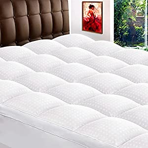 """ZAMAT Extra Thick Mattress Topper Queen, 400TC 100% Organic Cotton Cooling Mattress Pad Cover, Plush Quilted Pillow Top with 950gsm Down Alternative Fill, Bed Topper for Cushioning, 8-21"""" Deep Pocket from ZAMAT"""
