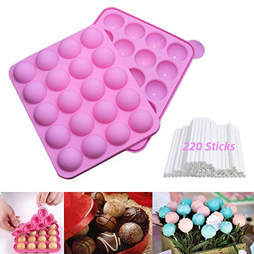 Cake Pop Mold Kit, Silicone Molds with 220 Cake Pop Sticks, Great for Hard Candy, Lollipop, Cake Pop and Party Cupcake