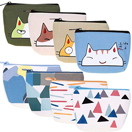 Canvas Coin Purse, Selizo 8 Pcs Small Zipper Change Pouch Mini Cosmetic Makeup Bags for Women and...