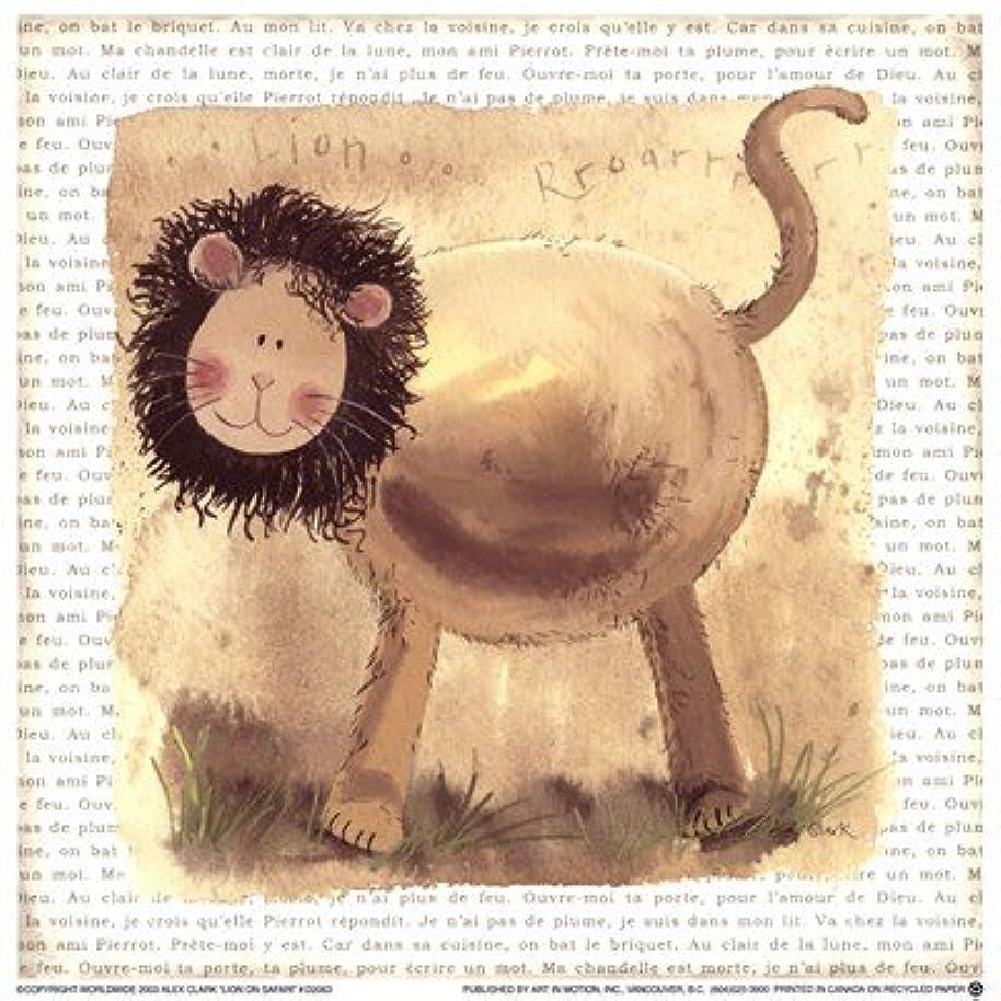 体操選手ペン全国Lion on Safari by Alex Clark?–?7?x 7インチ?–?アートプリントポスター LE_220772