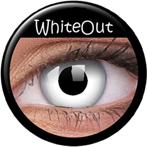 Lentes de contacto de color blanco, lentes de contacto crazy zombie blancas, ojos de cara. 1 par con estuche para lentes. Efecto ojo.