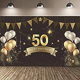 Feliz 50 cumpleaños Fiesta telón de Fondo Banner Suministros de decoración, Tela Negra y Dorada Cartel de Cartel para Feliz 50 cumpleaños Fiesta fotomatón Fondo Banner