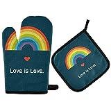 TropicalLife RELEESSS Ofenhandschuh & Topflappen-Set Rainbow Love is Love Hitzewiderstandsfähig Ofenhandschuhe Home Kitchen Grillen Kochen Backen