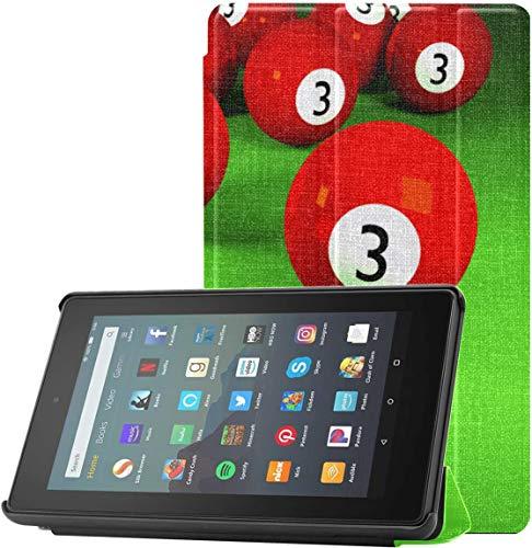 Funda para Tableta Kindle Funda de Mesa de Billar en el Fieltro Rojo para Kindle Fire 7 2019 para Tableta Fire 7 (novena generación, versión 2019) Ligero con Reposo automático/activac