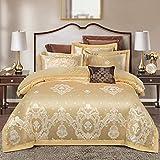 JBHURF High-end silk duvet cover set, luxury bedding four-piece set, cotton pure cotton satin quilt cover, 4-piece set, bed linen, home textile, four seasons, large king-size bed linen
