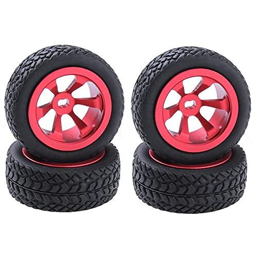 J-Clock Neumático para Scooter, 4 Piezas Piezas actualización RC Neumáticos y Ruedas Aluminio (Al.) para WLtoys 1/28 RC Car K969 K989 K999 P929 4WD Short Course Drift Off Road Rally, Rojo