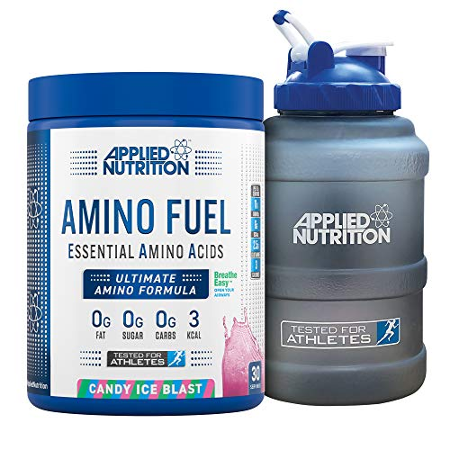 Applied Nutrition Bundle Amino Fuel 390g + 2.5 Litre Water Jug | Essential Amino Acid EAA Powder Supplement for Muscle Growth, 11g Aminos Per Serving with BCAAs (Candy Ice Blast)
