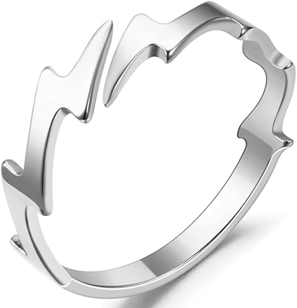 Jude Jewelers Stainless Steel Thunder Lightning Waved Wedding Band Stackable Ring