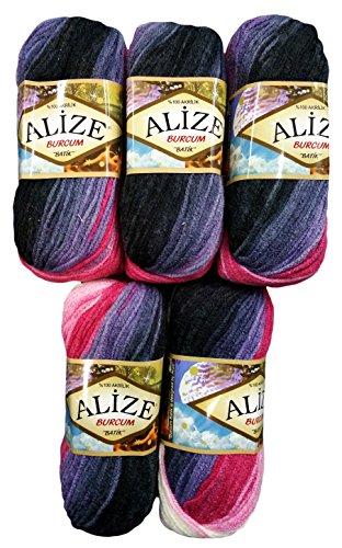 Alize Burcum Batik 5 x 100 Gramm Wolle Mehrfarbig mit Farbverlauf, 500 Gramm Strickwolle (dunkelblau lila pink u.a. 1602)