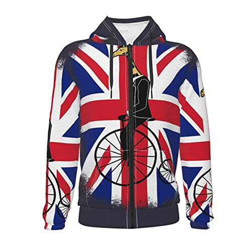 Union Jack Penny Farthing Giraffe British Flag Unisex Sweatshirt Boys Girls Kids Hoodies 3D Pullover Clothes with Pocket for 7-20t Black
